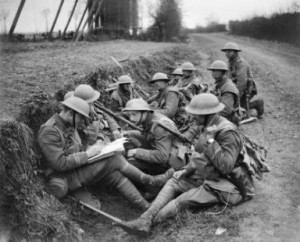 A commanding officer writes a report in April, 1918