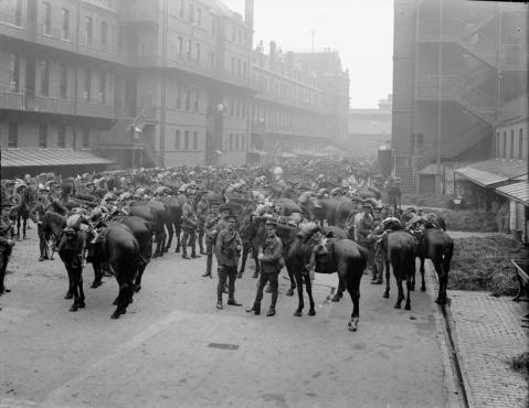 Image © IWM (Q 66223) - 1st Life Guards parade before leaving for France.