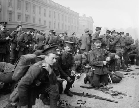 Image © IWM (Q 66157) - 1st Battalion, Irish Guards, preparing to leave for France, 6th of August, 1914