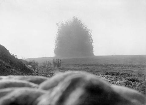 Image © IWM (Q 754) - The mine under German front line positions at Hawthorn Redoubt is fired 10 minutes before the assault at Beaumont Hamel on the first day of the Battle of the Somme, 1 July 1916.