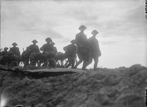 Image © IWM (Q 2103) - Cyclists moving up to the forward area