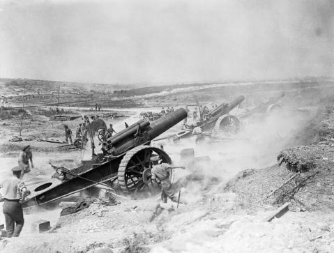 Image © IWM (Q 5817) - Three 8 inch howitzers of 39th Siege Battery, Royal Garrison Artillery (RGA), firing from the Fricourt-Mametz Valley during the Battle of the Somme, August 1916