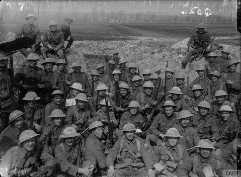 Image © IWM (Q 526) - A group of the King's Liverpool Regiment in the trenches at Blairville, near Wailly, 16th April 1916.