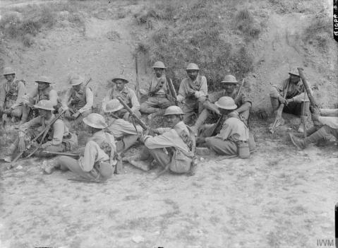 Image © IWM (Q 1064) - Group of Indian Cavalry dismounted near Fricourt, July 1916.