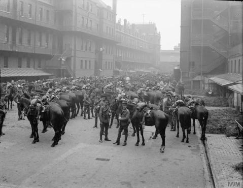Image © IWM (Q 66223) – The 1st Life Guards parading before leaving for France.