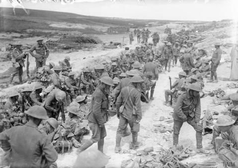 Image © IWM (Q 730) – Battle of Albert. Men of the Royal Warwickshire Regiment resting in reserve; Jacob's Ladder, opposite Beaumont Hamel, July 1916.