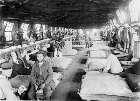 Image © IWM (Q 64122) – Sleeping quarters for German prisoners at Eastcote Prisoner of War Camp, Northamptonshire (also known as Pattishall).